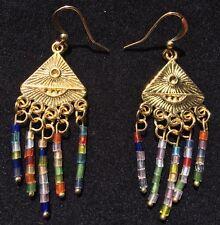 BohoCoho Quirky Boho Gypsy Festival Gold Multi Dangle Earrings - UK Seller