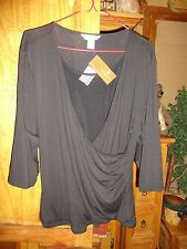 CHRISTOPHER AND BANKS NEW BLACK DRESSY PETITE XL TOP WITH 3/4 SLEEVE
