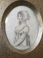antique 1804 portrait La Mode Series French lady miniature engraving fashion .