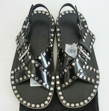 $1090 New PRADA Black Leather Silver-Tone STUDDED Sandals Flat Shoes US-10.5D