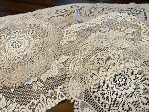 Vintage Mixed Lot 5 Crochet Lace Runner & Doilies Doily - Ivory Cream Beige