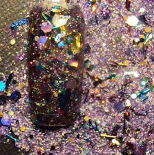 glitter mix acrylic gel nail art           MARDI GRAS
