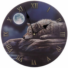 Lisa Parker Quiet Night of the Wolf Picture Wall Clock