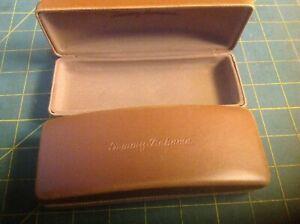 2/TOMMY BAHAMA Hard Shell Case Logo Eye Glasses Sunglasses Leather Brown