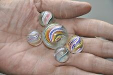 5 Pc Vintage Round Glass Spiral Design Colorful Balls/Marble