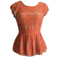 Maeve by Anthropologie Size Small Red Lace Peplum Blouse Top