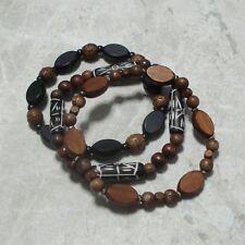 Wood Bead Tribal Bracelet TRIO Stretch Style Men's Wooden Beads Jewelry
