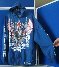 DEATH DEALERS Zip Front HOODIE by BLAC LABEL Blue w. Graphics & Embroidery 3XL