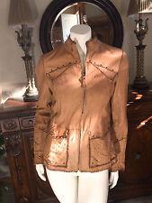 Pasha Veneto Vintage Jacket Ladies Tan Leather Studs Sz Medium Western Couture