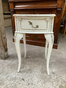 Vintage French Style White Bedside Table Unit Queen Anne Style Legs