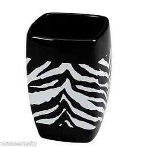 Wild Safari Zebra Print Black White Bath Ceramic Tumbler Cup Decor