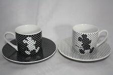 Mickey Mouse  Maus 4 tlg. Espresso Set Könitz Porzellan 80ml 2x Tasse + 2x UT