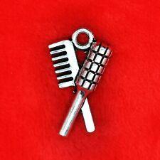 10 x Tibetan Silver Comb and Brush Hair Cut Stylist Girly Girl Charm Pendant