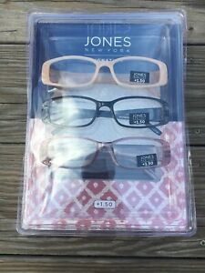 Jones New York +1.50 Women's Set of 3 Readers Rectangular Glasses NEW