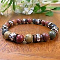 Bracelet Homme femme Jaspe Picasso Tibet  Bois Perles Naturelles  Lithothérapie