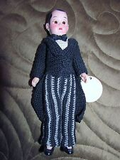 vtg 1940s Santa Claus Land House of Dolls Crochet Boy Man Doll Tuxedo Celluloid