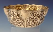 Repousse by Whiting Sterling Silver Fruit Bowl with Floral & Shell Design #0083