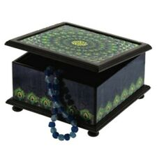 Jewelry Box Peacock Design Hand Painted Reverse Glass and Wood Boxes Decor