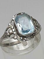 """Jugendstil Silber Ring 835 """"ES"""" punziert hellblauer Glasstein RG 53/54-17mm/A546"""