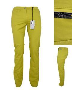 GEOX pantaloni pantalone donna estivi jeans elasticizzati vita bassa 44 gialli