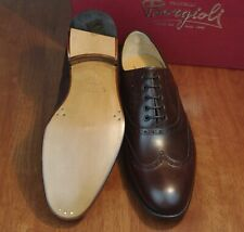 NIB FRATELLI BORGIOLI Chestnut Calfskin Leather Wingtips Santoni UK8/US9