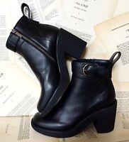 NEW Jil Sander black Leather Platform Crepe Sole Buckle Boots 41