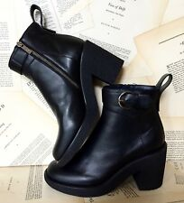 NEW Anthropologie Jil Sander black Leather Platform Crepe Sole Buckle Boots 41