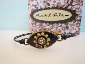 "New w/ Tags MICHAL GOLAN ""Evil Eye"" Swarovski Crystal on Black Leather BRACELET"