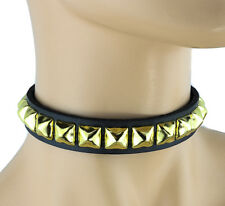 Brass Pyramid Stud Genuine Leather Choker Punk Goth Bikers Rockabily