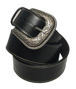 Men's Black Western Style Belt w/Silver-Toned Buckle w/Embossed Design!! 1947