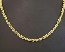 """Oro Amarillo 14ct 22"""" cadena/Collar Trenzado Cuerda Link 4mm de ancho"""