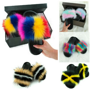 Women's Real Fox Fur Slides Furry Fluffy Slippers Comfort Outdoor Shoes Sandals