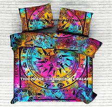 Indian Cycle of the Age Zodiac Queen Tie Dye Duvet Cover Reversible Bedding Set