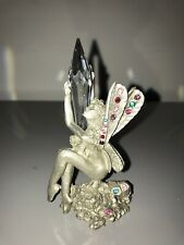 Comstock Pewter Figurine Angel Pointy Clear Crystal Quartz