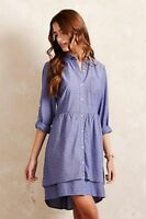 Anthropologie Isabella Sinclair Chambray Speckled Tier Shirtdress Dress XS 0 2