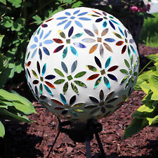 Sunnydaze Round Multi-Colored Glass Mosaic Flowers Gazing Ball Globe - 10""