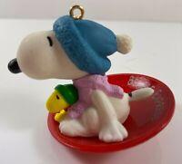 Hallmark 1972 Snoopy Woodstock Sledding BEAGLE EXPRESS Christmas Ornament