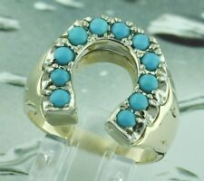 1.50 ct 14k Solid Yellow Gold Men's Turquoise Ring Horseshoe Lucky Luck made USA
