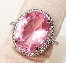 bague argent 925 rhodié style joaillerie diamanté quartz rose taillé brille T.54