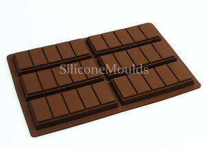 6 cell 5 Chunk Chocolate Bar Candy Mold Chocolatier Silicone Mould Snap Wax Melt