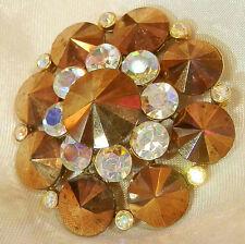 Very Classy Vintage 70's Reverse Copper Crystal AB  Rhinestone  Brooch 180F7