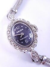 Vintage GRUEN 14k Solid White Gold Case Diamond Women's Precision Watch, Running