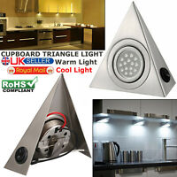 LED Mains Kitchen Under Cabinet Cupboard Triangle Light Kit Cool Warm White UK
