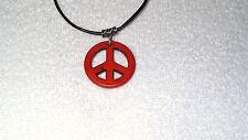 Orange Magnesite Stone Peace Sign Charm Necklace Jewelry Pendant Leather