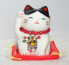 Japanese Porcelain Maneki Neko Lucky Cat For Happiness Buchi Made In Japan7534