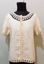 Immaculate Vintage Size 40 Hua Yu Cream Embroidered Linen Blouse- 48cm Bust