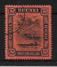 BRUNEI SG48 1910 $25 BLACK ON RED USED