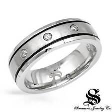 SIMMONS Gentlemens Band Ring W/Genuine Diamond in Blk Enamel & Stainless steel.