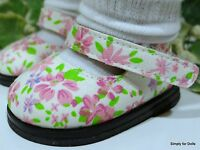 """**SALE** PINK Floral on IVORY Canvas Mary Jane DOLL SHOES fits 18"""" AMERICAN GIRL"""