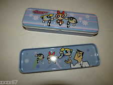 NEW POWERPUFF TIN PENCIL CASE LAVENDER WITH TRAY INSIDE